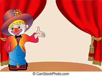 merry clown on scene with curtain - illustration merry clown...