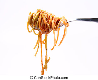 Spaghetti on a fork - Spaghetti with sauce hanging on a fork...