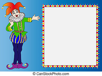 frame with merry bright clown - illustration frame with...
