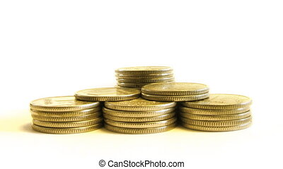 growing pyramid of coins isolated o - stop motion video,...