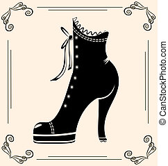 vintage ladies shoe - on vintage background is black...