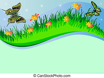background with herb butterfly and flower