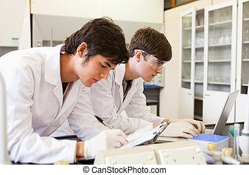 Química, estudantes, escrita, relatório
