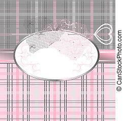 pink-gray background with lace and jewelry pin - background...