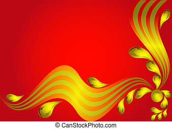 background with gold wave and drop on red - illustration...