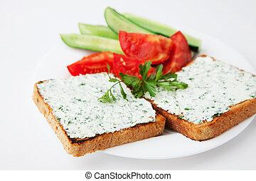 crema, queso, emparedado, vegetabl