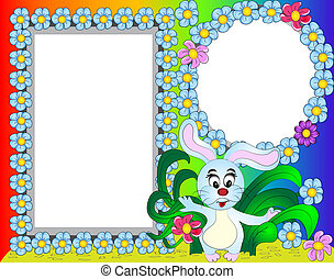 frame for photo rabbit with flower
