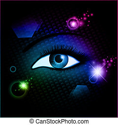 hypnosis - blue woman opened eye over dark abstract mystic...