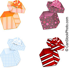 gift box set - opened different pattern gift box with ribbon...