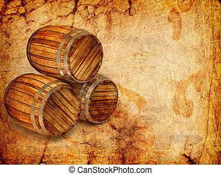 old barrels on a grunge background