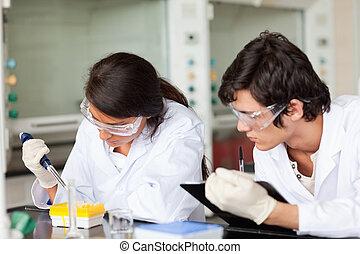 Focused scientists working in a laboratory