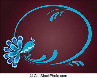 illustration of bird sitting on floral frame