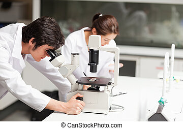 Serious science students using a microscope in a laboratory