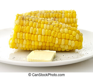 Boiled Sweet Corn with butter , salt and pepper