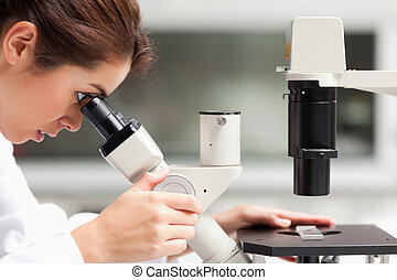 Close up of a female science student looking in a microscope...