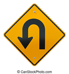 U-Turn Ahead road sign, isolated on white