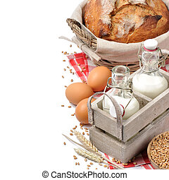 Set of traditional countryside breakfast isolated over white...