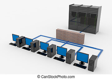 Computer network with server and firewall. Computer...