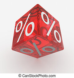 Red cube with percents. Computer generated image.