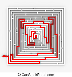 Red path from labyrinth. Right way.