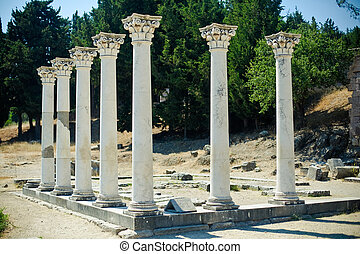 The Asklepion - seven columns in Asklepion - place on the...