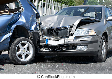 Two cars crashed Close up image