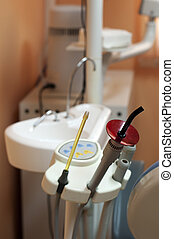 Dental equipment and sink.