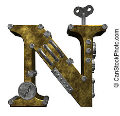 steampunk letter n on white background - 3d illustration