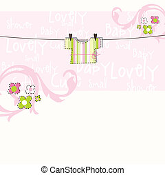 Baby arrival card - Baby girl arrival card with copy space