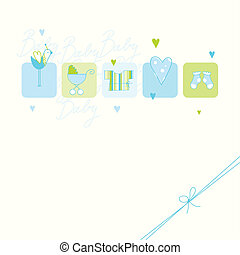 Baby arrival card - Baby boy arrival card with copy space