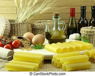 Cannelloni pasta and ingredients for cooking