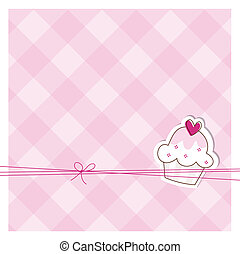 Baby shower invitation - Card with cute cupcake