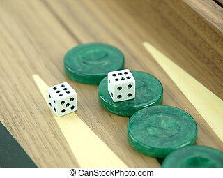 Backgammon set with dice - Backgammon set with rolling dice