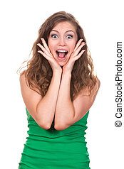 Teenage girl - portrait of attractive surprised excited...