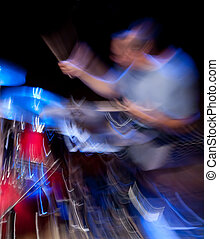 Drummer in action, motion blur - Drummer performing on...