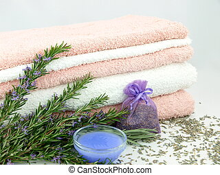 Bath towels with lavender plant