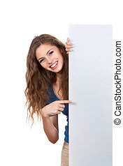 Teenage girl - young smile woman standing pointing her...