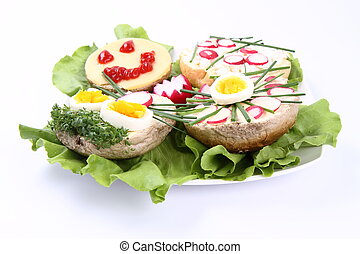 Sandwiches - A plate of funny sandwiches for kids