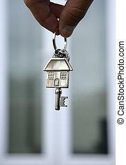 House keys and keyring closeup