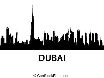 Dubai Skyline - detailed illustration of the city of Dubai,...