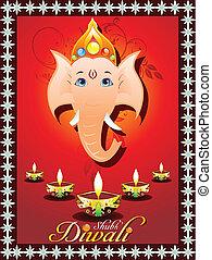 abstract diwali greeting card