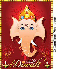 abstract diewali greeting card with ganesh ji vector...