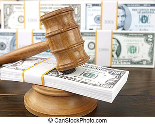 Auction gavel and dollars - Auction gavel and money dollars