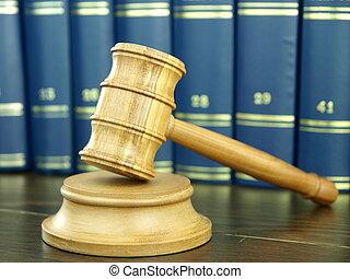 Judge?s, martillo, Pila, legal, Libros