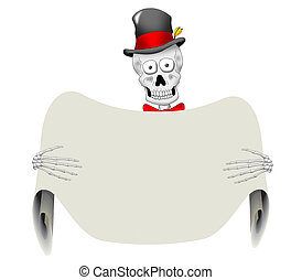 Dapper Skeleton with Blank Sign - A very dapper skeleton...