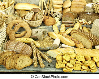 Various types of bread and other wheat products