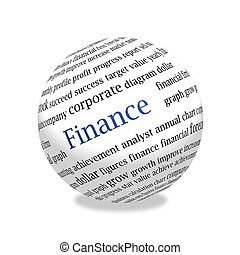 abstract 3d finance sphere - 3d area, on a surface words on...