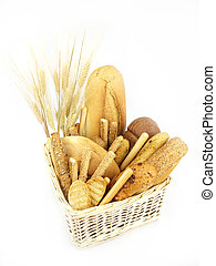 Various types of bread and other wheat products in the...