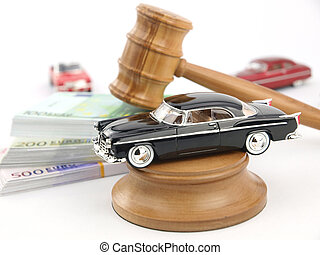 Gavel auction, car and money - Gavel auction with antique...