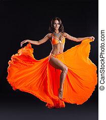 belleza, bailarín, Posar, naranja, velo, -, Arabia,...